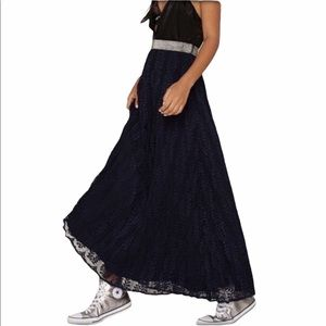 hP] NG NAVY LACE METALLIC BAND MAXI SKIRT